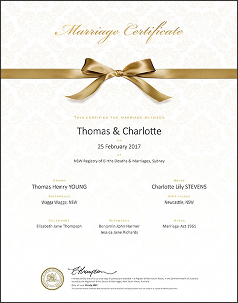 Marriage celebrant sydney adrian downey nsw celebrant for Commemorative certificate template