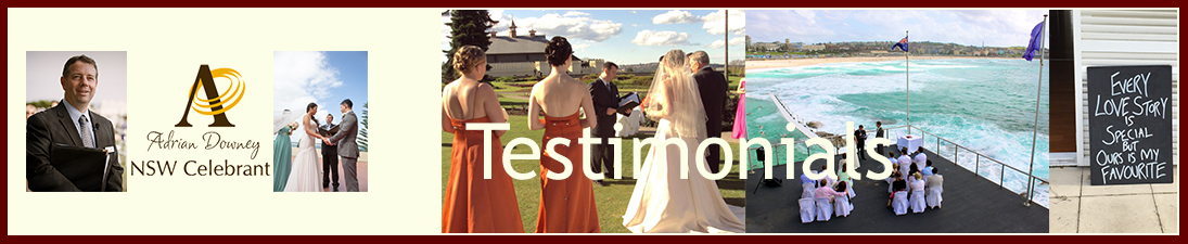 NSW Celebrant Testimonials